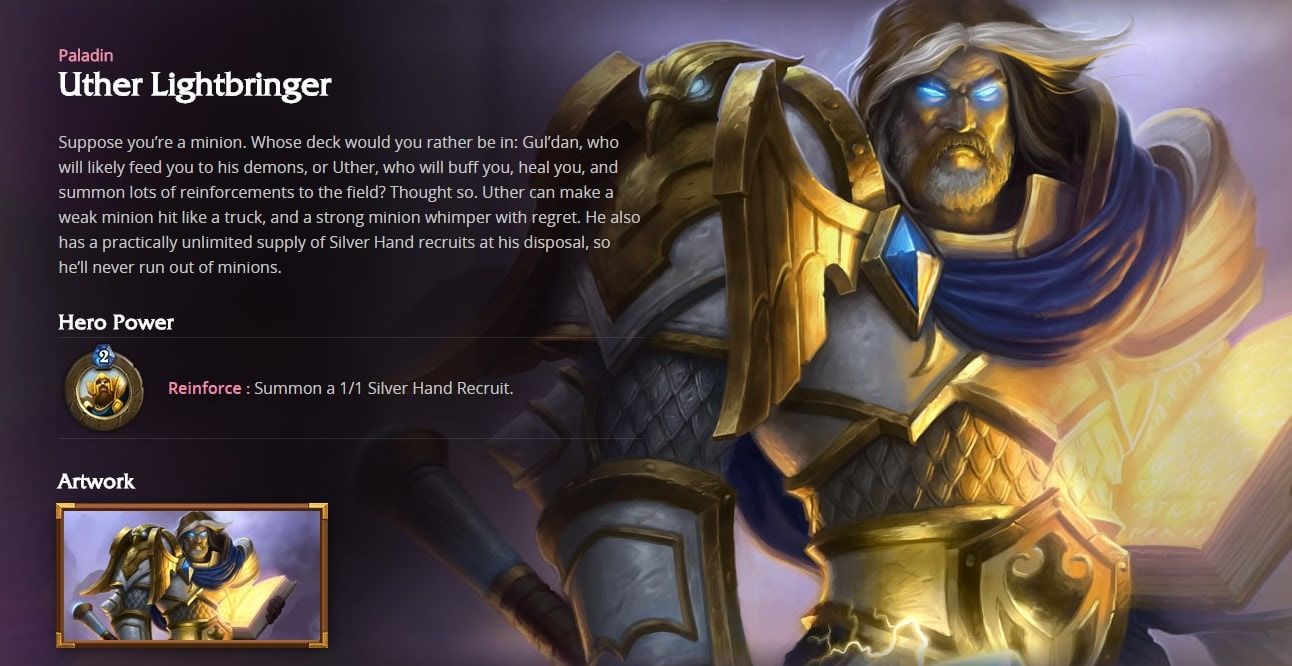 Hearthstone: Uther The Lightbringer widescreen for desktop